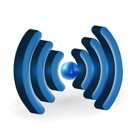 design office: wireless network sign logo vector Illustration
