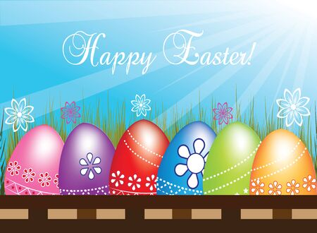 royalty free stock photos: Easter Egg hunting a row flowers grass with blue sky sunrays holiday decoration. Vector image in vivid colors