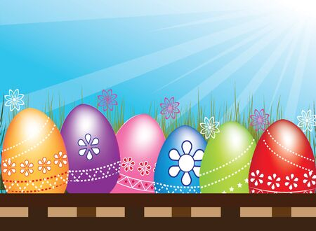 Easter Egg hunt in a row sitting on basket flowers  grass with blue sky sunrays .Vector image in vivid colors Illustration