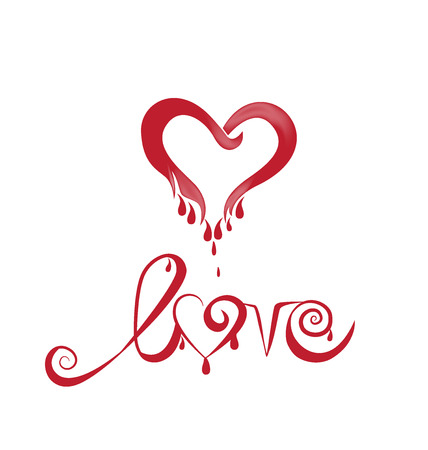 Love heart with blood valentines symbol logo vector image Illustration