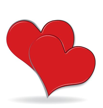 Couple of hearts valentines love logo 向量圖像
