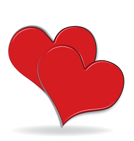Couple of hearts valentines love logo Vectores