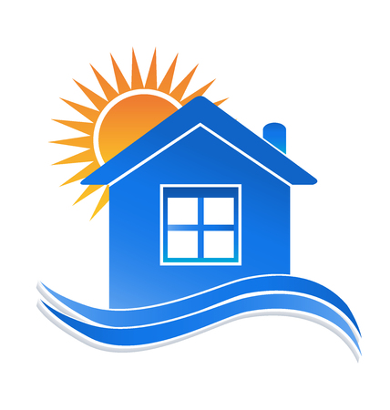 House sun and waves logo Illustration
