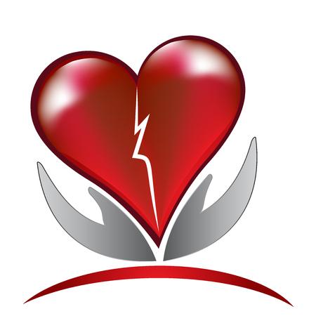 Broken heart love care logo