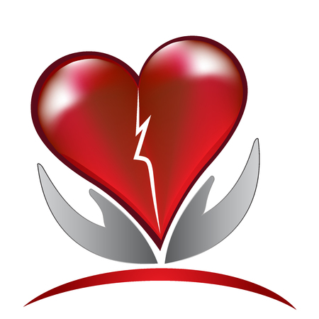 Broken heart love care logo