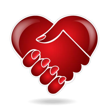 assistance: Handshake heart love logo vector image