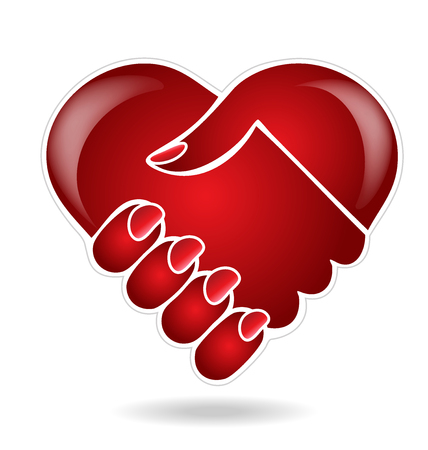 Handshake heart love logo vector image