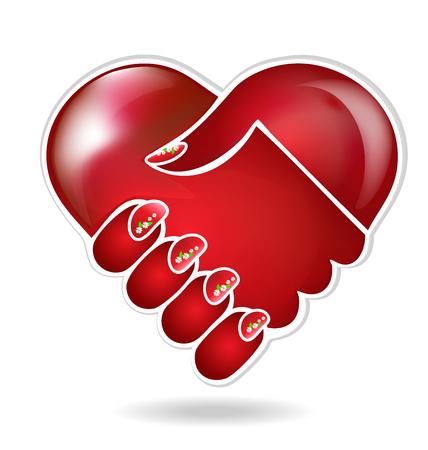 Handshake love logo Vectores