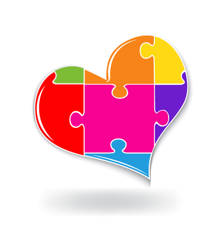 broken love: Puzzle love heart logo