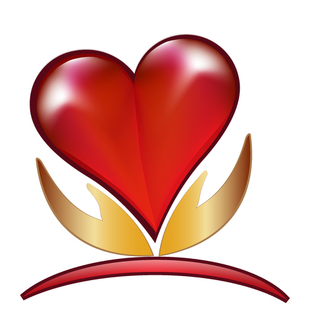 love image: Hands and love heart vector image logo template Illustration