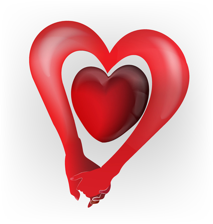 Couple holding hands heart love shape logo vector