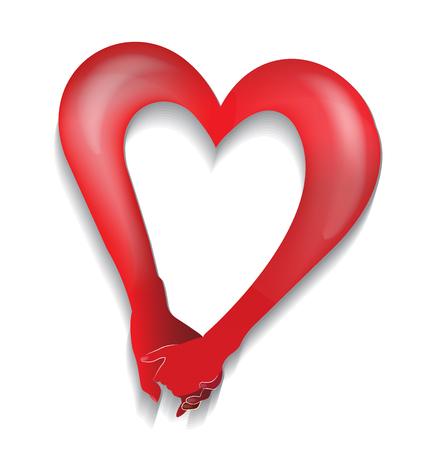 love shape: Couple holding hands heart love shape logo vector