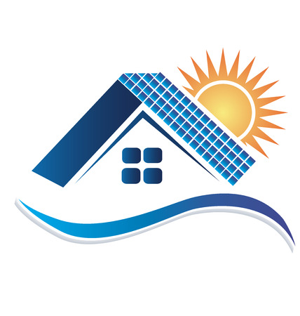 house for sale: House with solar panels logo vector design