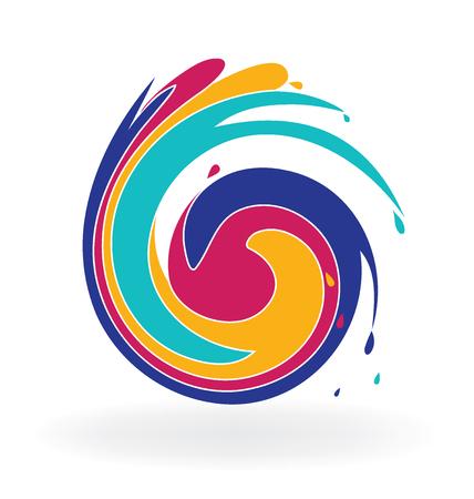 ocean waves: Swirly colorful waves icon logo vector (waves, ocean)