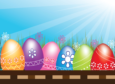 Easter Eggs hunt flowers grass blue sky sunrays symbol of spring  holiday decoration design element.Vector image in vivid colors Illustration