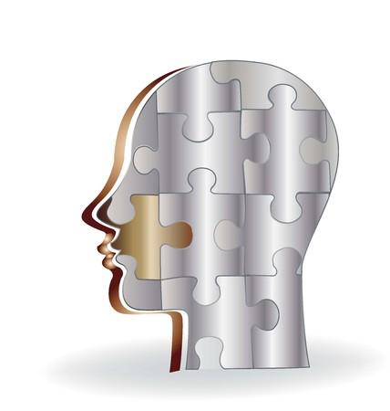 Puzzle silver brain logo vector