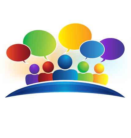thought balloon: Business social media network speech bubbles logo (talking)
