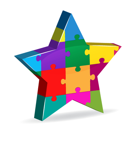 communication icons: Puzzle star innovation company logo vector