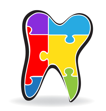Tooth puzzle logo vector image  イラスト・ベクター素材