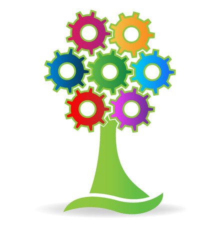 Tree made with gears logo vector image Illustration