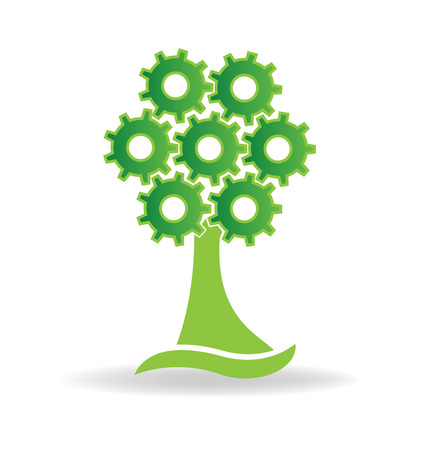 green environment: Green health nature tree gears logo