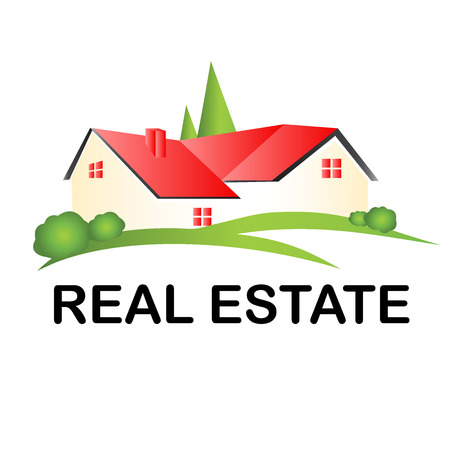 for rent: Real estate house logo vector