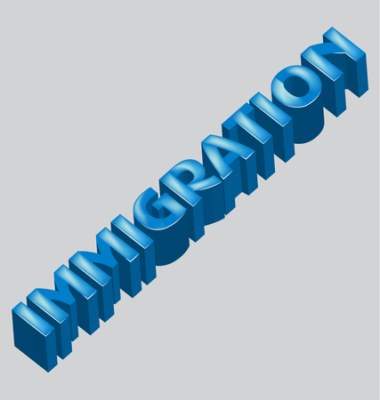 digital: Immigration 3d word vector image Illustration
