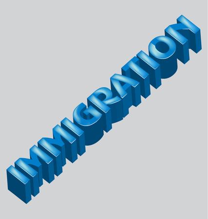 autoridad: Inmigración 3d palabra vector de imagen