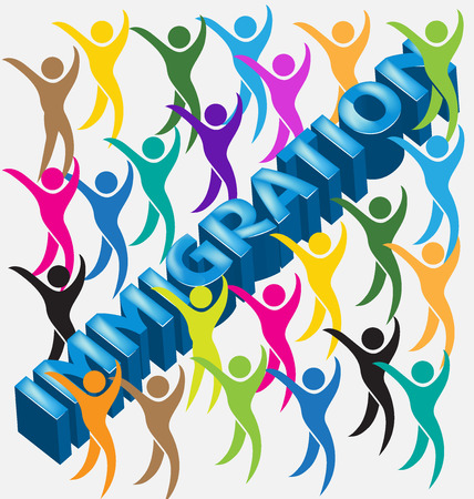 business woman: Immigration 3d word and people figures vector image Illustration