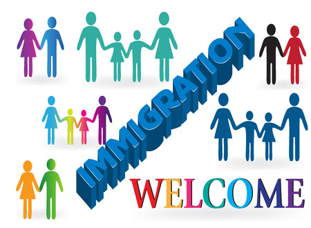 Families immigration welcome background template Vectores