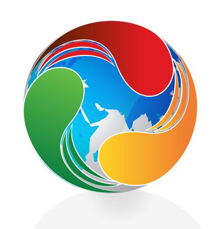 swooshes: Logo swooshes around world