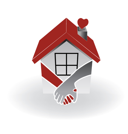 townhouses: Icon of a Logo real estate first buyers couple. Illustration