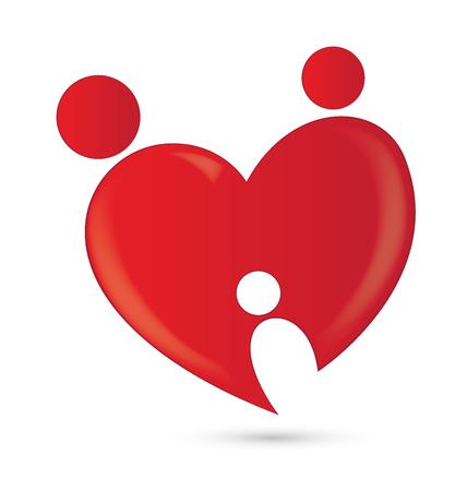 Family love heart logo vector image