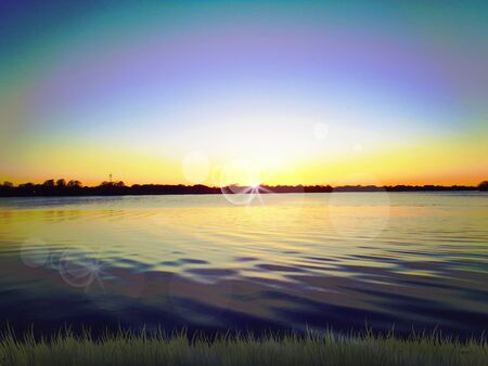 blue green background: Sunset on lake picture background