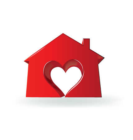 love image: House heart love 3D image logo vector