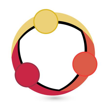 manos logo: Trabajo en equipo círculo forma logo gráfico vectorial