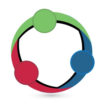 Teamwork circle shape logo vector design Illustration