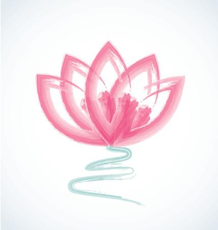 ロータス水彩花ロゴのベクトル