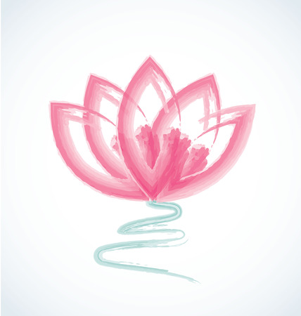 Lotus watercolor flower logo vector