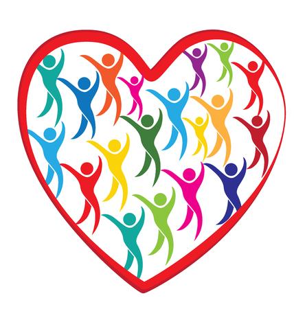 Heart love meeting diversity social media people logo design vector