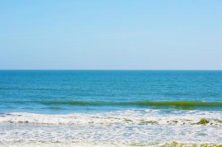 waves: Blue ocean beach vivid colors