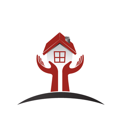 House logo vector icon design template concept of love and care