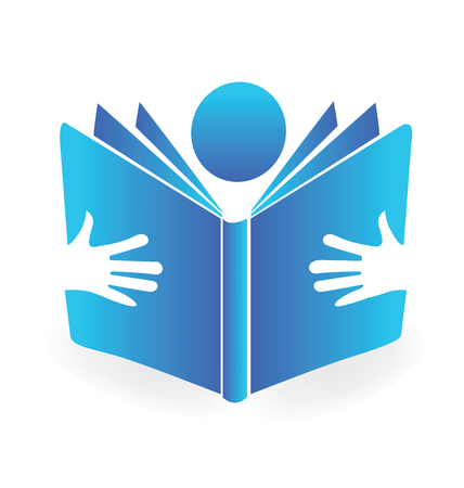 school: Book reading illustration blue icon design vector background template Illustration