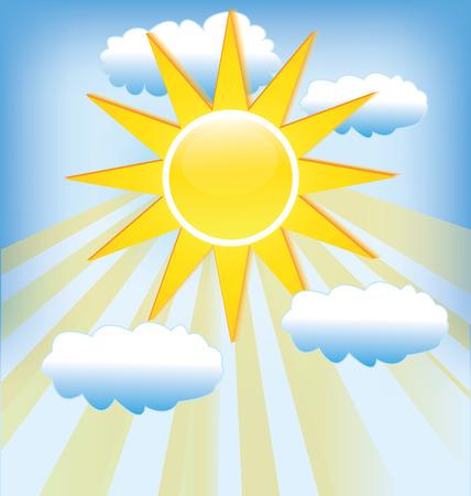 blue cloudy sky: Sun rays cloudy blue sky background template Illustration