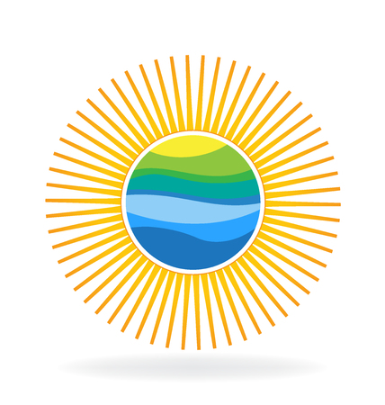 Green hill blue waves inside sun logo vector icon template Illustration