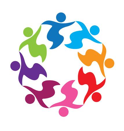 family holiday: Teamwork hug business people logo vector