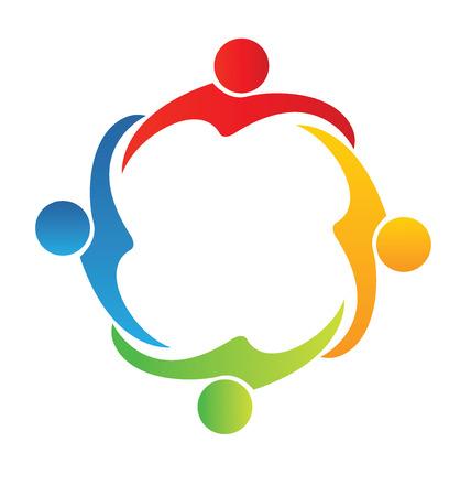 Community concept type Teamwork hug friendship logo vector