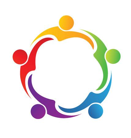 Community concept type hug friendship logo vector