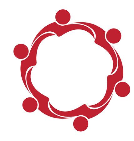 family holiday: Teamwork hug friendship logo vector
