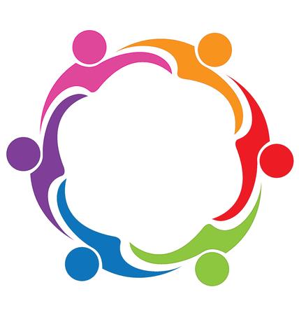 embraced: Teamwork hug friendship logo vector
